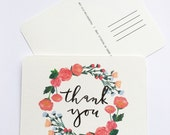 Brush Lettering Calligraphy Thank you Floral Rose Postcard