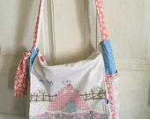 Handmade Vintage Fabric Messenger Bag with Vintage Embroidered Front Flap