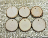 15 small wood slices, with holes, tree branch slices, pendants, wood jewelry,