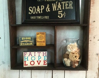 Rustic bathroom decor, wooden shelves, rustic home decor, wall shelf, metal and wood shelf, rustic chic, home decor, cottage chic