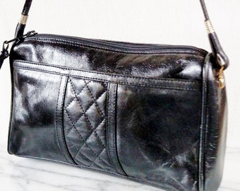 Vintage Pappagallo Soft Black Leather Quilted Purse