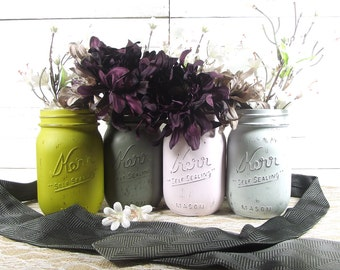 Gray Wedding, Wedding Decorations, Mason Jar Wedding, Painted Mason Jars, Romantic Wedding, Rustic Centerpiece, Mason Jar Decor