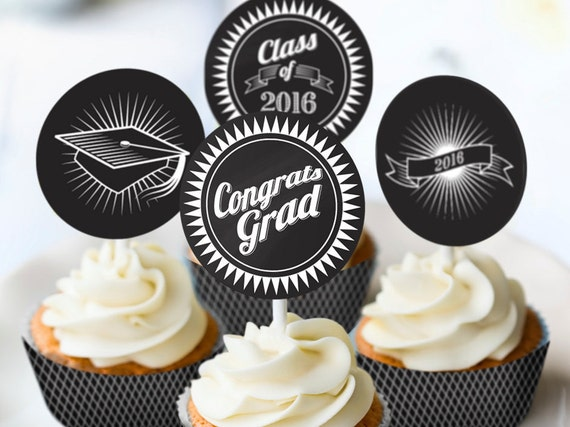 2016 Graduation Party Printables INSTANT DOWNLOAD Black & White Banner Cupcake Toppers Cupcake Wrappers Water Wrappers Welcome Sign