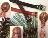 Leather hair accessory - Ponytail Belt - Non-slip Leather ponytail holder - Great stocking stuffer for Christmas