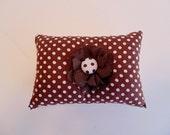 Pin Cushion , Brown and White Polka Dot Pincushion , Sewing Supplies