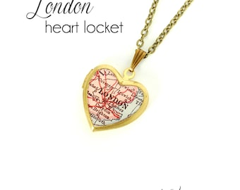 London Map Necklace, Antique Map Jewelry, Brass Heart Locket, Vintage Locket, England, Europe, City Necklace, Gift for Her