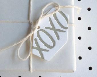Set of 5 - Mini 'xoxo' Letterpress Hexagonal Swing Tags