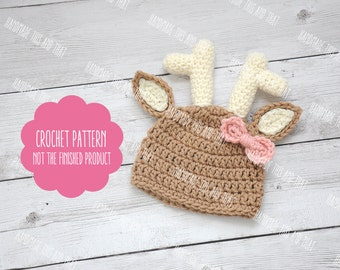 CROCHET PATTERN - Deer hat pattern, baby deer hat pattern, baby photo prop pattern, crochet baby pattern, newborn deer hat