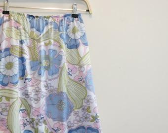 Vanity Fair mini skirt slip FLORAL cherries pastel vintage 1960s S