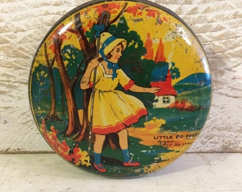 Antique Nursery Rhyme Tin Box, Little Bo Peep, Puzzle Box, Vintage Tin Box, Primitive Décor, Nursery Décor, 1930s