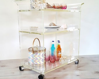 Bar Cart ~ Vintage Lucite Serving Tea Trolley ~ Mid Century Modern Three Tier Acrylic Lucite Rolling Serving Cart With 3 Serving Trays