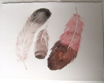 Feather illustration/ Watercolor feather painting/ Minimalist art/ Gray pink brown painting/ Feather wall art/