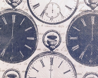 3 Decoupage Paper napkins, Pocket Watch Paper Napkins for Decoupage, Scrapbook Decoupage Paper Craft Paper Serviette