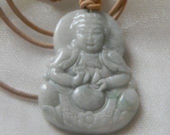 Kwan Yin jade pendant w leather cord necklace , Buddhist religious icon , Goddess of Mercy & compassion , Buddhist jewelry , beaded jewelry