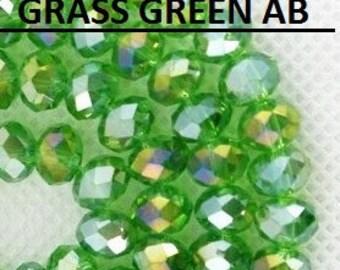 36pcs 6x8mm Green Crystals 8mm KELLY Grass Green AB Rondelles Like FERN Ab Swarovski Crystals A Grade Diy Jewelry Beads & Beading Supplies