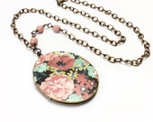 Floral locket necklace floral necklace rose locket flower necklace bohemian jewelry