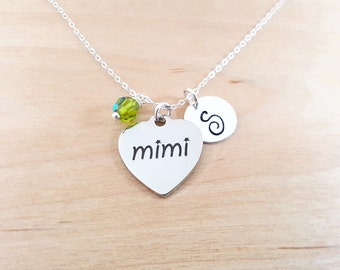 Mimi Necklace - Grandmother Necklace - Birthstone Necklace - Personalized Gift - Initial Necklace - Sterling Silver Jewelry - Gift For Her