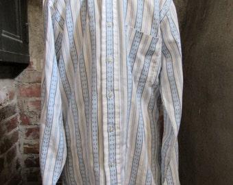 70s Mach II Arrow Blue Geo Striped Shirt w/ Button Down Collar, M // Vintage Long Sleeve Shirt