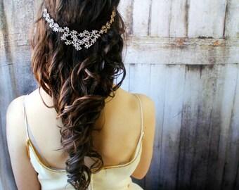 Gold Hair Jewelry / Bridal Hair Wreath Headpiece