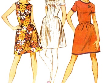 McCall's 9587 Retro 1960s Junior Sized Dress in Three Styles Sewing Pattern Sz 13