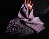 Qiviut & Cashmere Purple and Black Handwoven Scarf - Soft Warm Scarf - Musk Ox Scarf - Cashmere Scarf - Purple and Black Neck Scarf