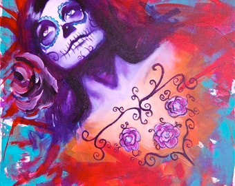 Internalize Day of the Dead Sugar Skull Dia De Los Muerto Giclee Canvas  Mexican Print Wall Art Colorful Abstract Pop Art