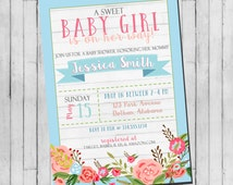 Couple Baby Shower Invitation | Floral Girl Baby Shower | Shabby Chic Baby Shower Invitation | Roses Baby Shower Digital Invitation