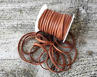 """Deerskin Lace - 1/8"""" Tan Deerskin Leather Lace BY THE YARD - 3 Feet x 3mm Lace - Cord Bead - Light Brown Deer Skin - Leather Craft Supplies"""