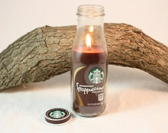 Coffee Candle in Upcycled Starbucks Bottle, Cappuccino, Coffee, Coffee Mocha, Espresso Latte, Hazelnut Coffee Scented, Starbucks Candle,