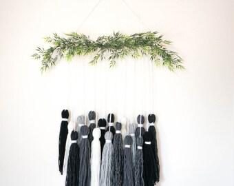 Ready to Ship // Rocky B&W Tassel Tapestry // Wall Hanging // Yarn Hanging