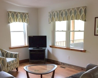 """Made to Order EMMA Hidden Rod Pocket® Valance fits 56""""- 80"""" window, contemporary valance, your fabric, my LABOR and lining"""