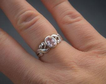 Light Pink Morganite Ring Gold Morganite Ring Handcrafted Ring Hand Engraved Ring Designer RIng Pink Beryl Ring