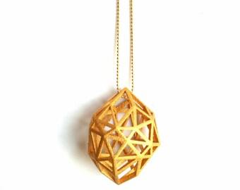 3D printed geometric gold statement Pendant 'Rough Diamond' (large)