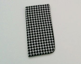 Black and White Eyeglass Case, Houndstooth Eyeglass Case, Eyeglass Holder, Sunglasses Case, Eyeglass Pouch