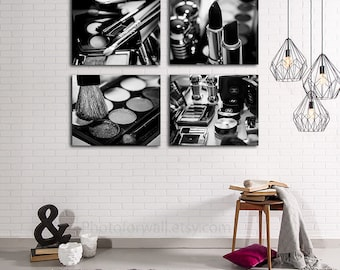 Chanel Makeup, Chanel Art, Chanel Wall Decor Set Of 4 Black And White Chanel