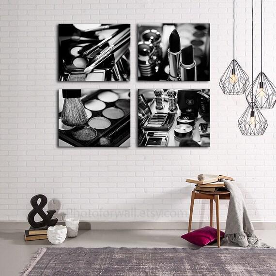 Chanel Makeup Bathroom Decor Set Of 4 Black And White Canvas