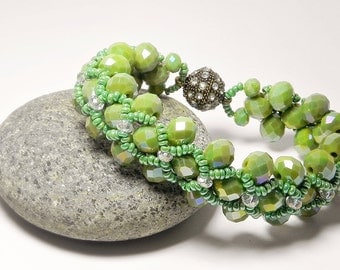 Beaded Bracelet Woven Bracelet Green Bracelet Peyote Bracelet Glass Bead Bracelet Beadwoven Wedding Bracelet Gift Handmade Fashion Jewelry