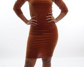 The Golden velvet dress