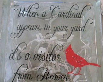 Lighted glass block with Cardinal saying