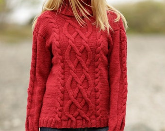 Hand knitted ladies womens mens jumper sweater with roll neck and detailed cable pattern - made to order men's women's unisex clothes