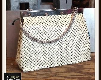 Vintage White Metal Mesh Whiting Davis Silver Large Handbag Bag Purse FREE SHIPPING