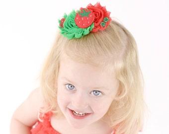 Strawberry Bow - Strawberry Headband - Strawberry Clip - Strawberry Feltie Bow - Baby Girl Headband - Toddler Girl Bow - Cute Hair Bows