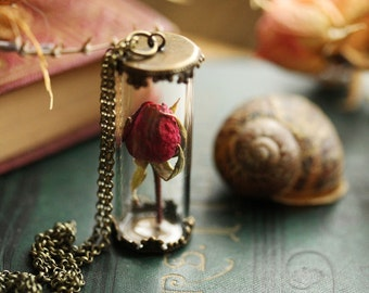 Real rose necklace , red rose bud , I love you , romantic jewellery, symbolic necklace , valentines gift , anniversary gift  #A4
