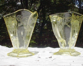 Lorain Yellow Depression Creamer and Open Sugar ,Vintage Indiana Glass 1929 - 1932