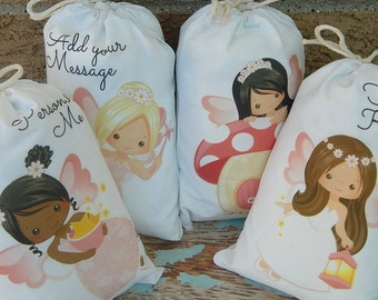 """Woodland Fairy Favor Bags for Baby Shower or Birthday Party for Treat's or gift Can be personalized 5"""" X 7"""" or 6"""" X 8"""" Qty 8"""