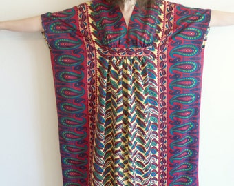 Vintage Polyester Tribal Paisley Boho Hippie Maxi Caftan
