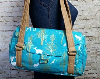 Evelyn Deer Turquoise Gold Vegan Leather Purse Bag