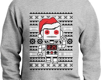 Santa's Dancing Robot Ugly Christmas Sweater Men's Crewneck Sweatshirt