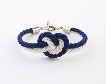 Heart knot bracelet - bridesmaid gift - bridesmaid bracelet - heart bracelet - navy wedding - knot bracelet - flower girl bracelet