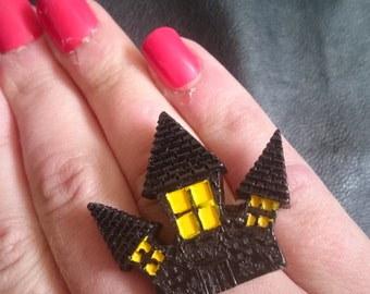 Halloween Creepy Cute Resin Haunted House Adjustable Ring Large Goth